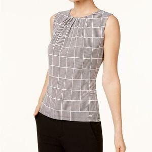Calvin Klein Pleated Sleeveless Black & Cream XL